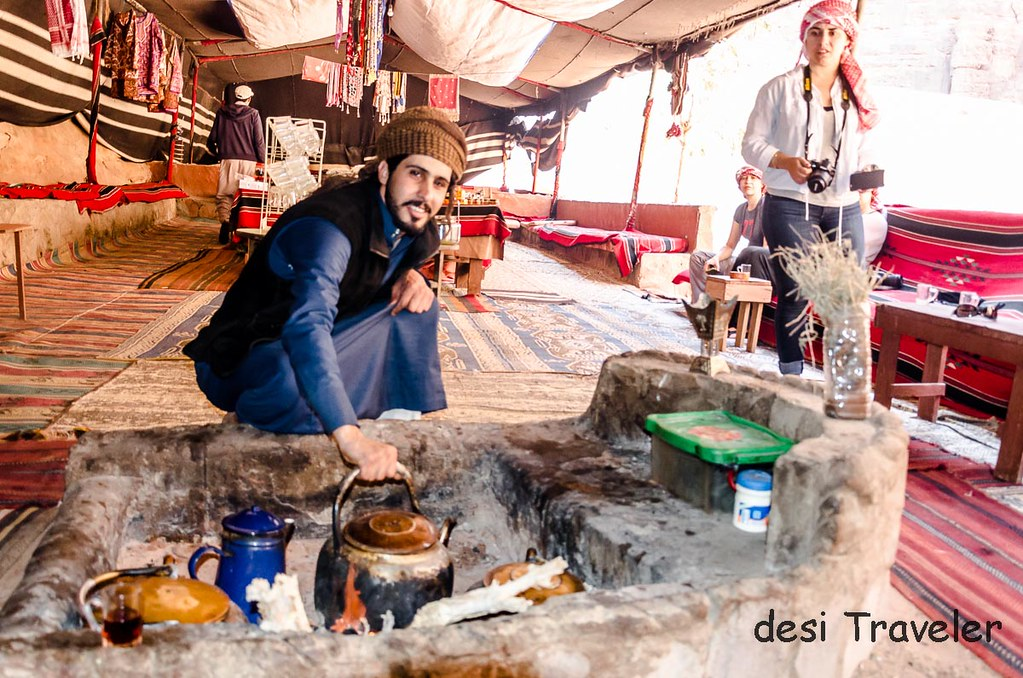 Bedouin tent Wadi Rum Tea making