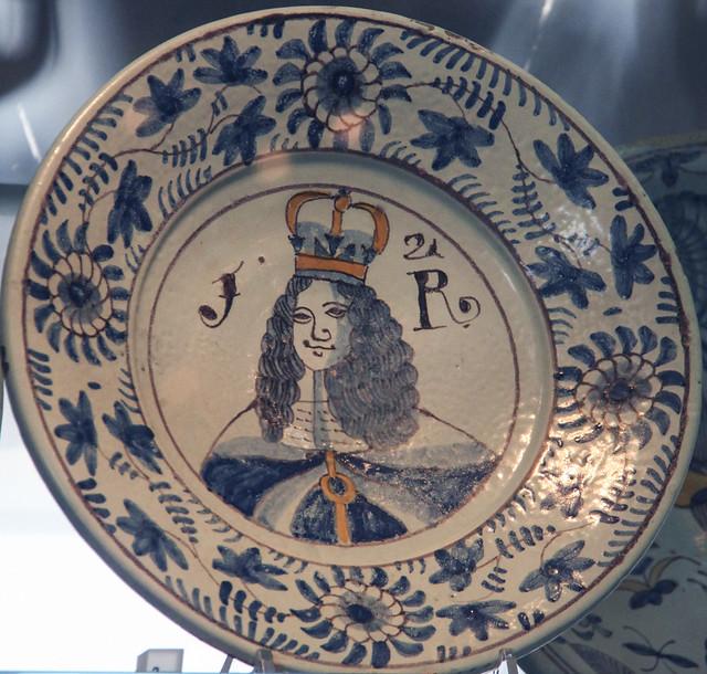 English Delft - charger, James II