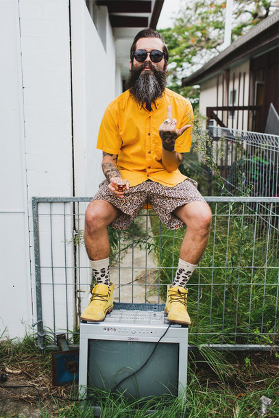 he3zyq-l-610x610-shorts-leopard+print-yellow-socks-beard-sunglasses-desert+boots-summer-cool