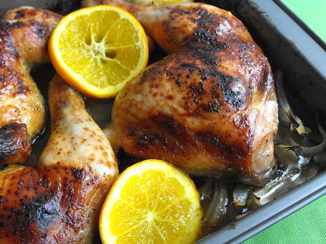 Pernas de frango com laranja e cominhos