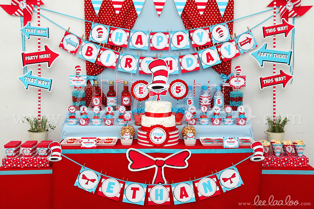 Red Hat Cat Birthday Party Idea
