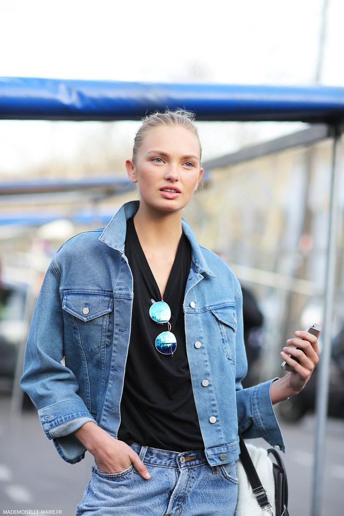 Model Romee Strijd at Paris Fashion Week