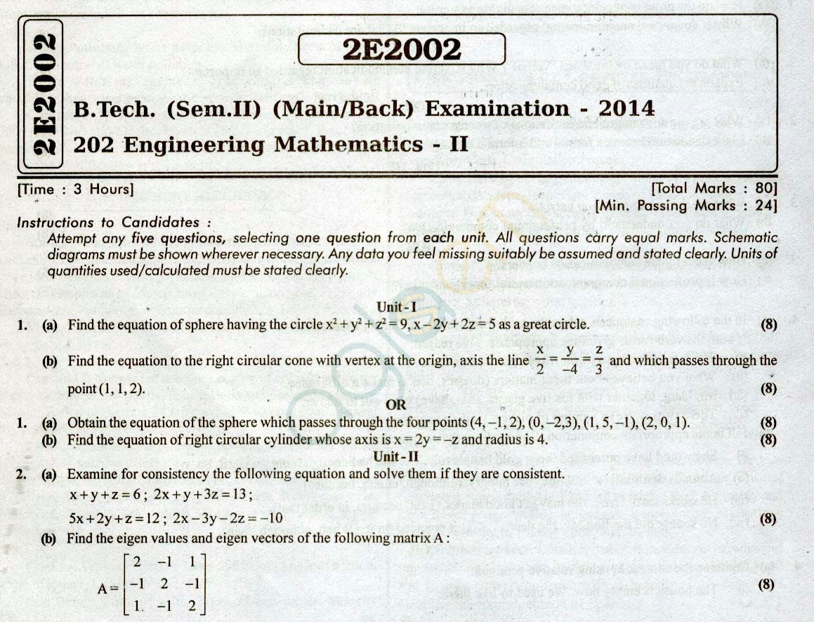 RTU: Question Papers 2014 - 2 Semester - All Branches - 2E2002
