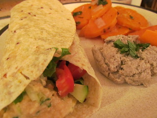 Fattoush Wraps; Mojito Roasted Sweet Potatoes; Baharat-Spiced Baba Ghanoush