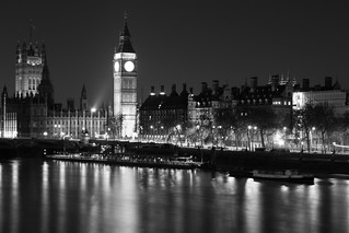 The Clock Tower (Big Ben) and Westminster Palace from across the River Thames
