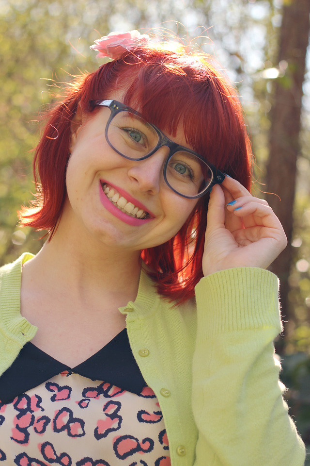 Blue Firmoo Glasses, Red Hair, and Pink Lipstick