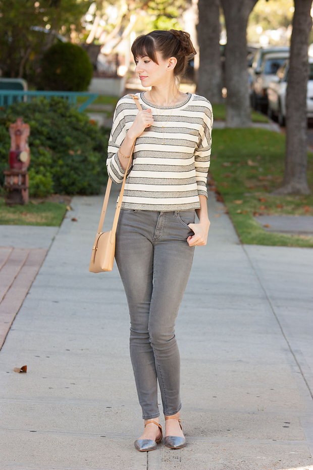 Grey Denim, Loft Striped Cropped Top, Neutral Outfit