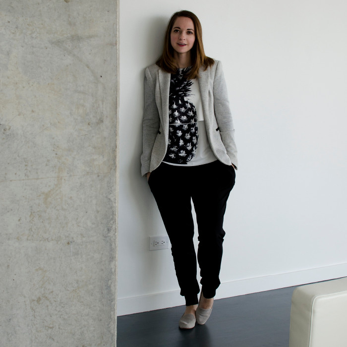 dash dot dotty, pineapple graphic tee, creative young professional, creative workplace, outfit ideas, what to wear to creative job, gray blazer outfit ideas