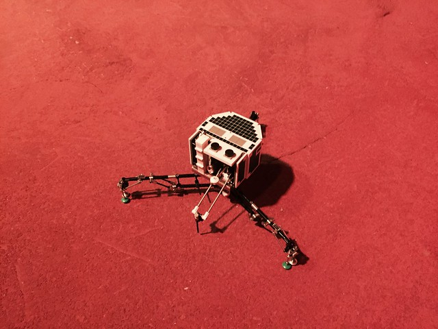 Lego Philae Lander I displayed at the National Space Centre UK with Brickish