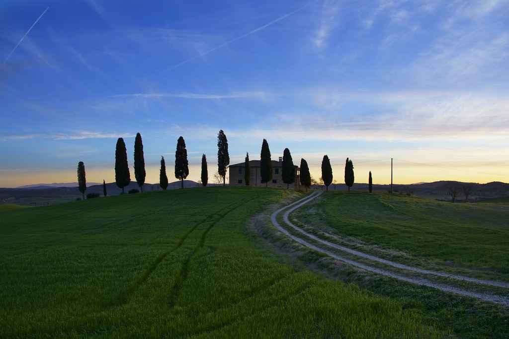 Peace. Sunrise in Val d'Orcia.
