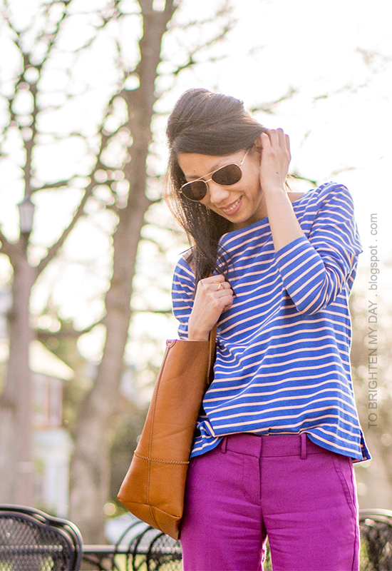 blue striped stop, fuchsia pants, cognac brown tote