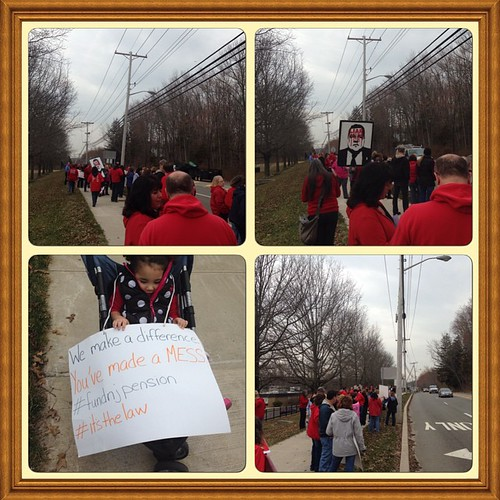 Protesters at Chris Christie town hall, Old Bridge NJ 4/7/15