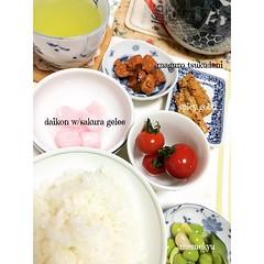 rainy monday☔️maguro tsukudani, spicy gobo, daikon with sakura gelee, tomato, mamekyu, rice & green tea #breakfast #tsukudani #maguro #gobo #daikon #sakura #tomato #tsukemono #tea #japan