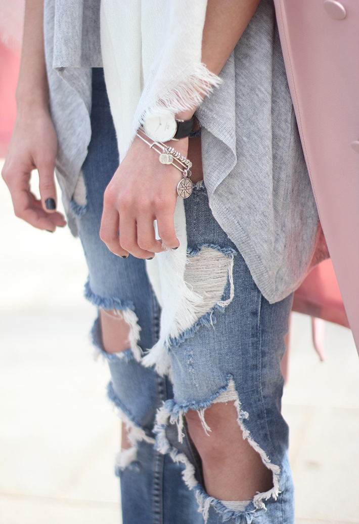 Pink trench & Ripped Jeans13