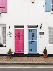Fishermans Cottages in Worthing Blue & Pink Front Doors