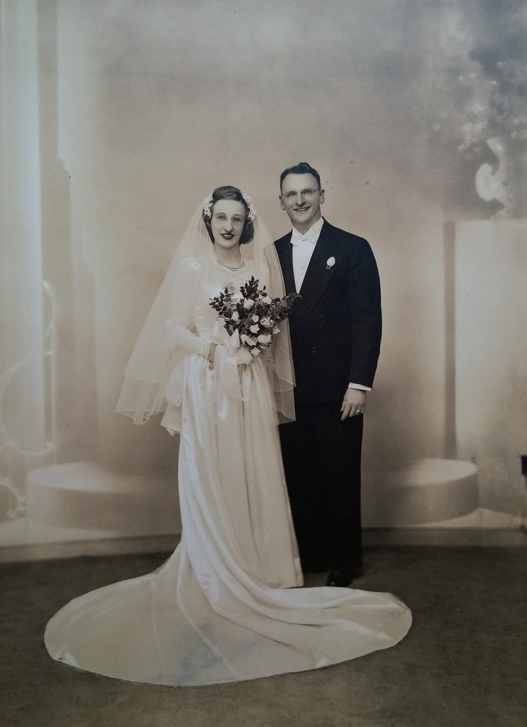Grandma and Pop, formal wedding portrait