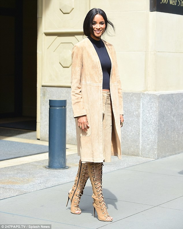 TAN-CULOTTES-suede-coat-gladiator-knee-length-peep-toe-boots.crop-top,Finders Keepers culottes and nude Christian Louboutin heels, cobalt blue culottes, white wide leg culottes, white wide leg short pants, white culottes, Tibi striped sleeve cotton-blend pea coat, pea coat, navy blue pea coat