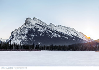 Mount Rundle and frozen Vermillion Lakes close to the town of Banff