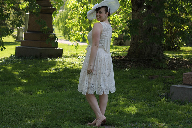 Derby Day outfit: Anthropologie white lace dress, double pearl necklace, double pearl necklace, pink suede kitten heals, white Kentucky Derby hat, pavé bracelets