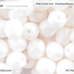 PRECIOSA Fire-Polished Beads - 151 19 001 - 02010/29571 - White