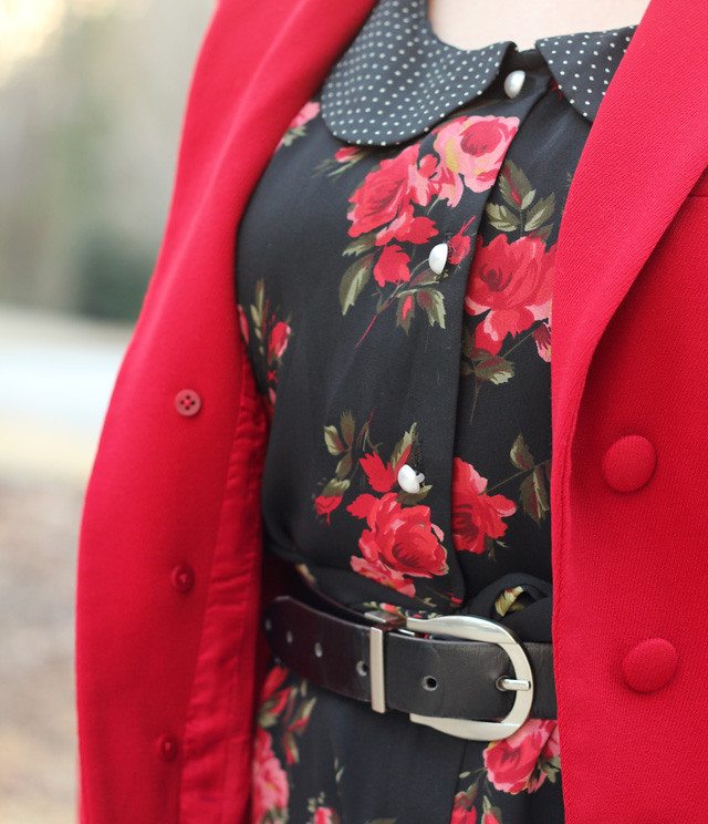 Polka Dot Peter Pan Collar, Rose Print Dress, and Red Jacket