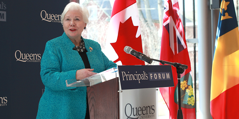 The 29th Lieutenant Governor of Ontario, Elizabeth Dowdeswell, visited campus, speaking at the Principal's Forum on April 1. (photo: Bernard Clark)