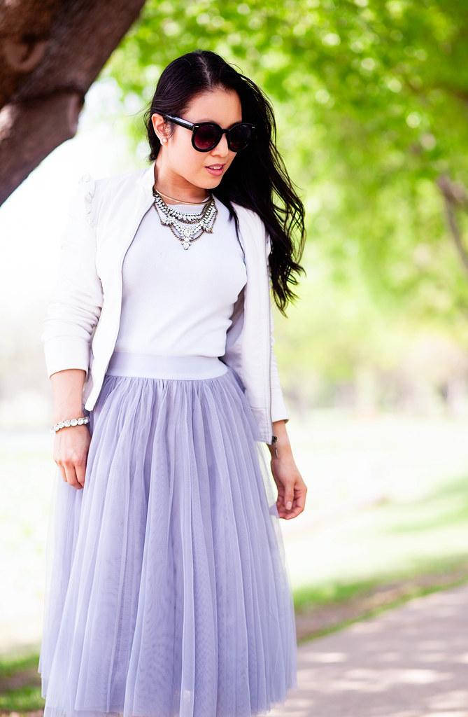 cute & little blog | petite fashion | grey tulle midi skirt, white pumps, white moto jacket, baublebar crystal grendel bib statement necklace | spring outfit | bridal shower | easter