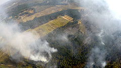 Aerial footage of the wildfire tackled by Surrey Fire and Rescue Service near Pirbright