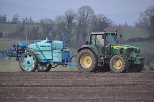 John Deere 6830 Tractor with a Berthoud Major 32 Gestronic Trailed Sprayer