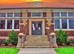 Milan Ohio ~ Milan Public Library ~ Carnegie Donation ~ Historic District  ~ Influence possibly by FL Wright  Architecture