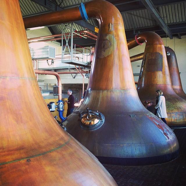 Copper stills at Aultmore Distillery in Banffshire with John Dewar & Sons. #LastGreatMalts #whisky