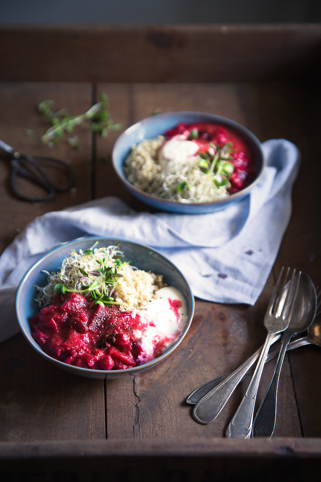 Fragrant Beetroot & Quinoa Bowl w Feta Yoghurt & Sprouts | Cashew Kitchen
