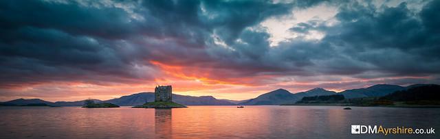 Castle Stalker Fiery Sunset Pano