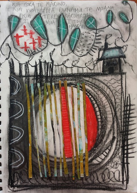 Sketching with charcoal and soft pastel and painted strips. #52weeksofsketching