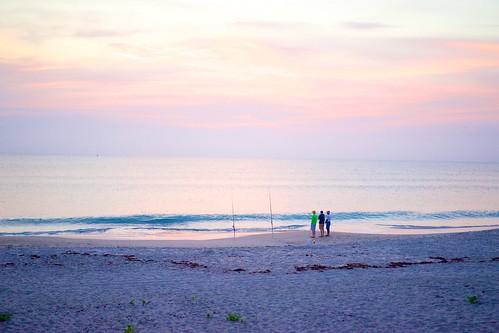 ocean beach sunrise dawn fishermen florida fishingpole indialantic