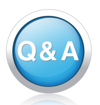 A button with Q & A letters - Your telework questions answered