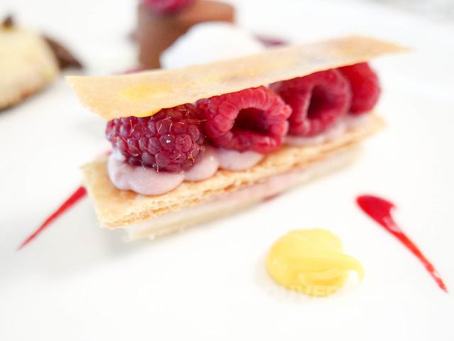 ORU Raspberry shortcake millefeullie, Kalamansi curd, lychee sorbet