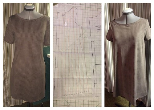 Original Mesa dress on the left. Pattern slashing in the middle and the revised breezy Mesa dress on the right.