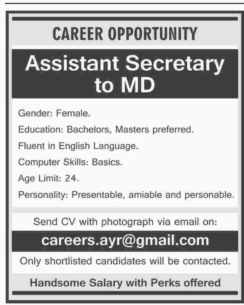 Assistant Secretary to MD Required
