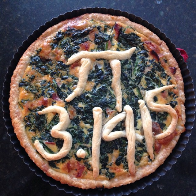 Not a pie, but a spinach quiche for Pi Day. #piday #31415