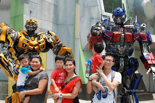 A photo with both BumbleBee and Transformers.