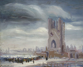 """Market among the Ruins of Ypres,"" a painting by Mary Riter Hamilton, 1920 /  « Un marché dans les ruines d'Ypres »; tableau peint par Mary Riter Hamilton en 1920"