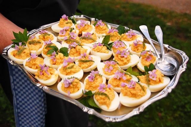 Gefüllte Eier mit Wiesenschaumkraut und Schafgarbe