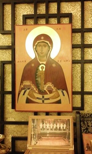 聖像屏風是東正教會內部裝飾的一大特色,圖為聖母像