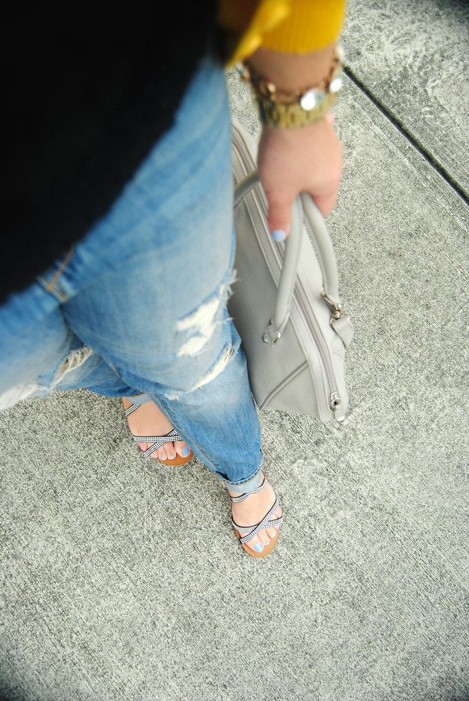 distressed denim outfit details