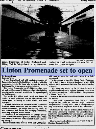 Linton Promenade Boca Raton News, August 7, 1985