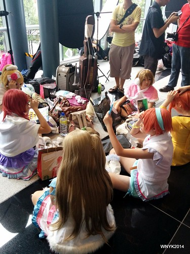 Cosplayers Getting Ready