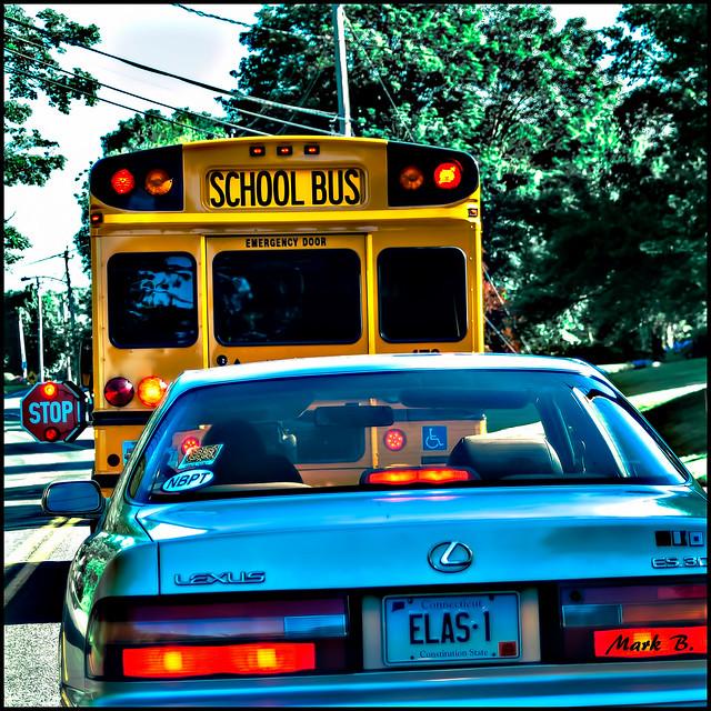 School Bus Flashing it's lights.