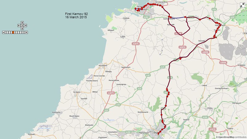 First Kernow Route-92 Map-16March2015