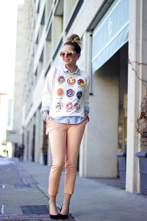 Style Tab, Boston style blogger, donut sweatshirt, spring layers